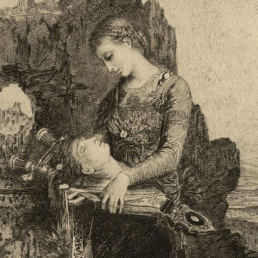 Original Victorian Engraving after Moreau  ' Head of Orpheus'  1892.