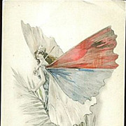Rare French Butterfly Lady Patriotic Postcard 'Serbie' 1914-18