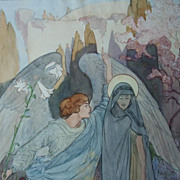 Original  Signed  Water Color and Ink  'The Annunciation'  1918. Rare and Beautiful.