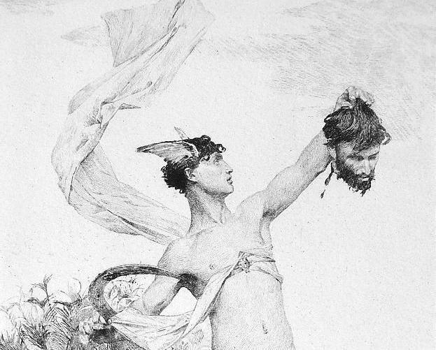 Antique Victorian Greek God  Etching 'The Slayer of Argus' c1880
