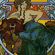 Rare Alphonse Mucha Poster 'La Dame L'Ours' from Documents Decoratif c1960
