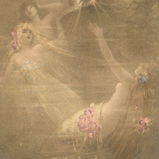 German Opera Rheingold Naked Rhine Maidens Postcard..Art Nouveau era