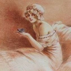 Signed Louis Icart French Art Deco Sanguine Postcard 'L'Eternal Feminine'.