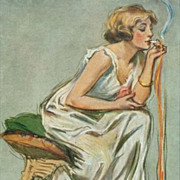 Artist Signed Early New York Smoking Woman Postcard 'Heart's Flame' 1914 - Red Tag Sale Item