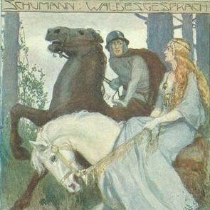 Austrian  'Medieval Maiden and Knight on Horseback' Musical Schumann Postcard.