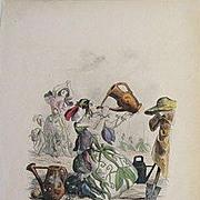 Grandville Victorian Engraving 'Pois de Senteur' 1867 from Les Fleurs Animees.
