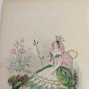 SALE: Grandville French Engraving 'Rose' 1867 from Les Fleurs Animees. Signed.