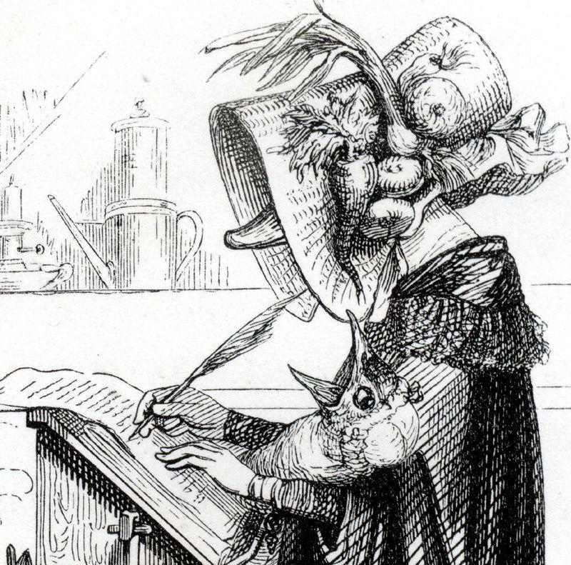 Original Signed Grandville French  Animal Engraving 1842