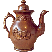 Sprigged Saltglaze Chocolate Pot, Eighteenth Century