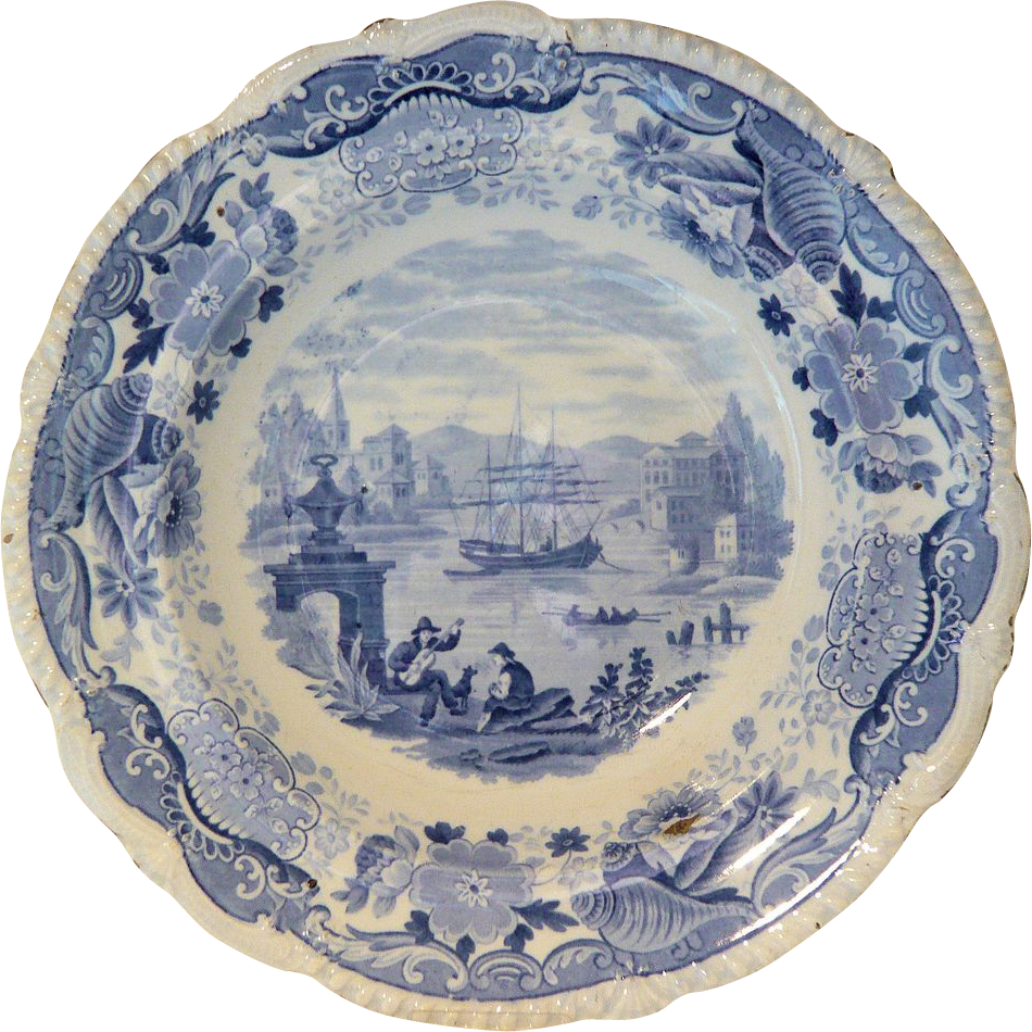 Blue & White Soup Plate: Italian Scenery