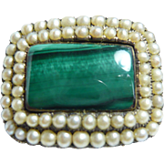 Early Victorian Malachite and Seed-Pearl Brooch