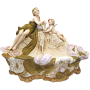 Royal Dux Centrepiece Bowl: Water Nymph and Cherub