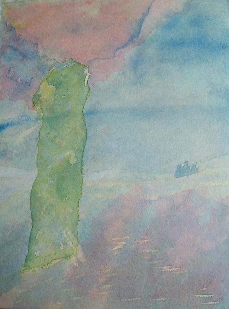 Watercolour: Diarmid's Pillar - Glen Lonan: The Power of the Stone