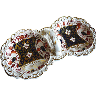 Gaudy Welsh Imari palette double pickle dish