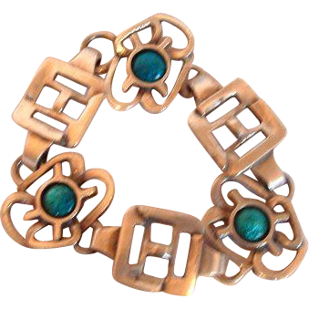 Silver and Turquoise Coloured Enamel 60s Bracelet