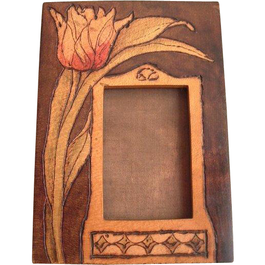 Art Nouveau Pyrography Photo Frame