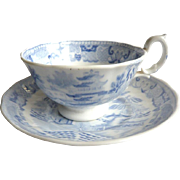 Blue and White C19 Willow Pattern Cup and Saucer
