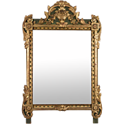 French 19th c. Régence Style Gilded and Painted Mirror