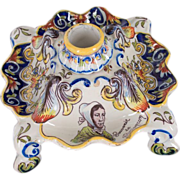 French Faience Inkwell, Desvres, Rouen Decor