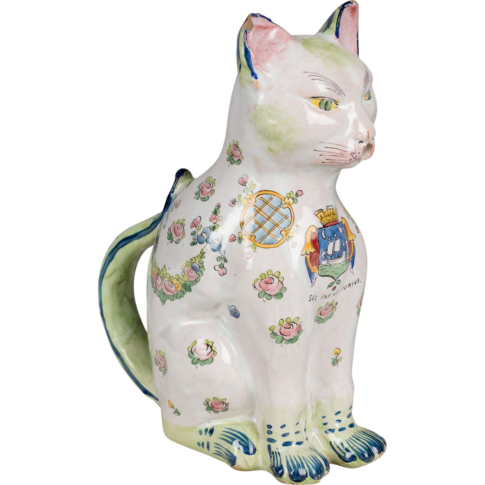 French Faience Desvres Cat Pitcher