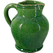 French 19th Terra-cotta Glazed Pitcher