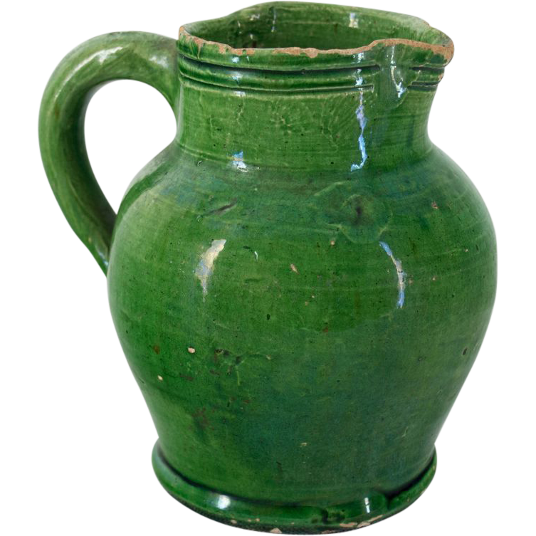 French 19th Terracotta Glazed Pitcher
