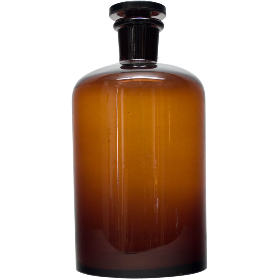 A 19th c. French Amber Apothecary Bottle