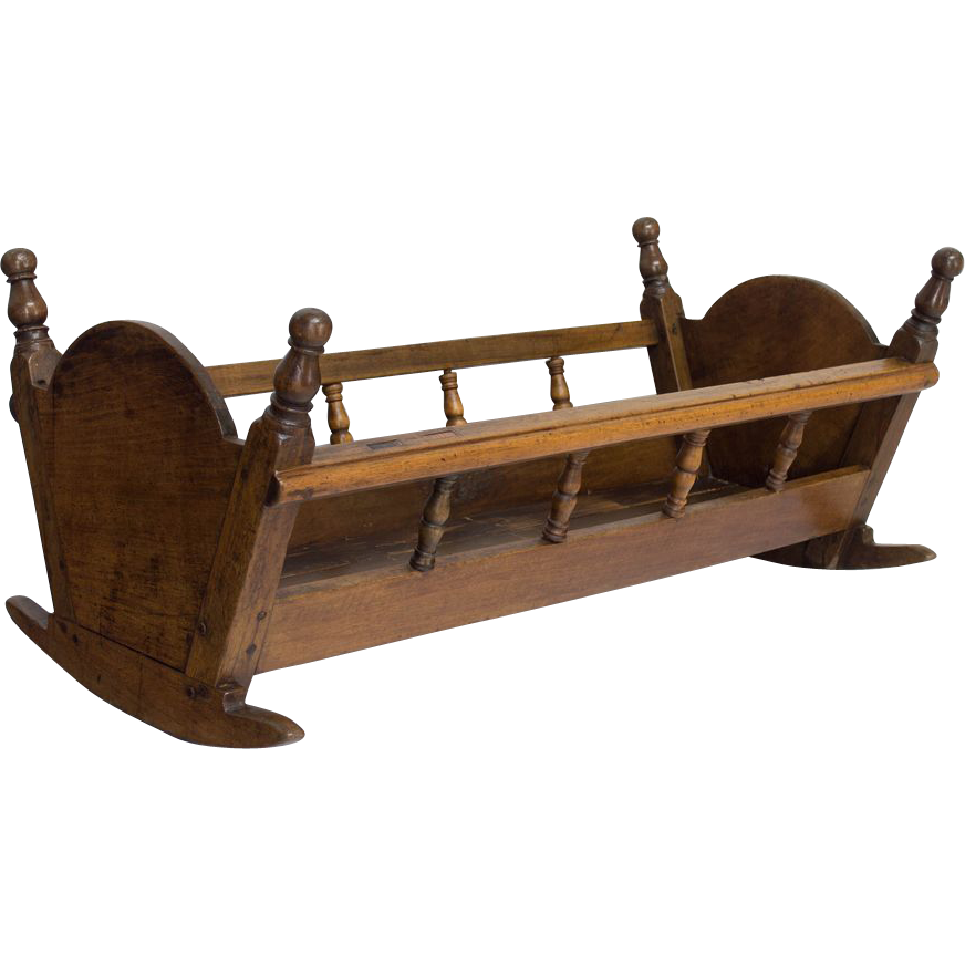19th c. French Walnut Cradle or Planter