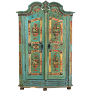 19th Century French Painted Armoire from Alsace