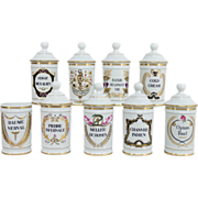Set of  9 French Apothecary Limoges Porcelain Jarres