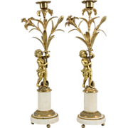 Pair of 19th c. French Bronze Doré Candlesticks