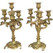 Pair of 19th c. French Bronze Candelabra