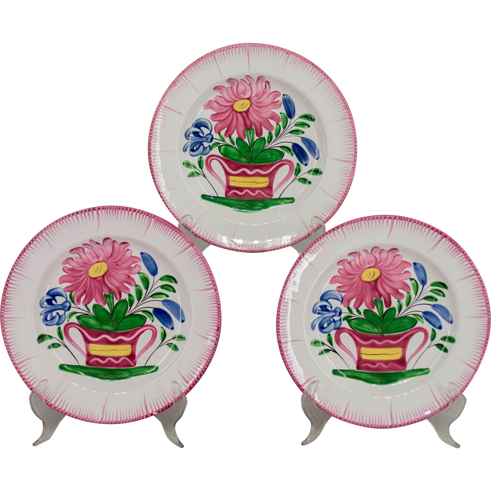Set of 3 French Faience Plates