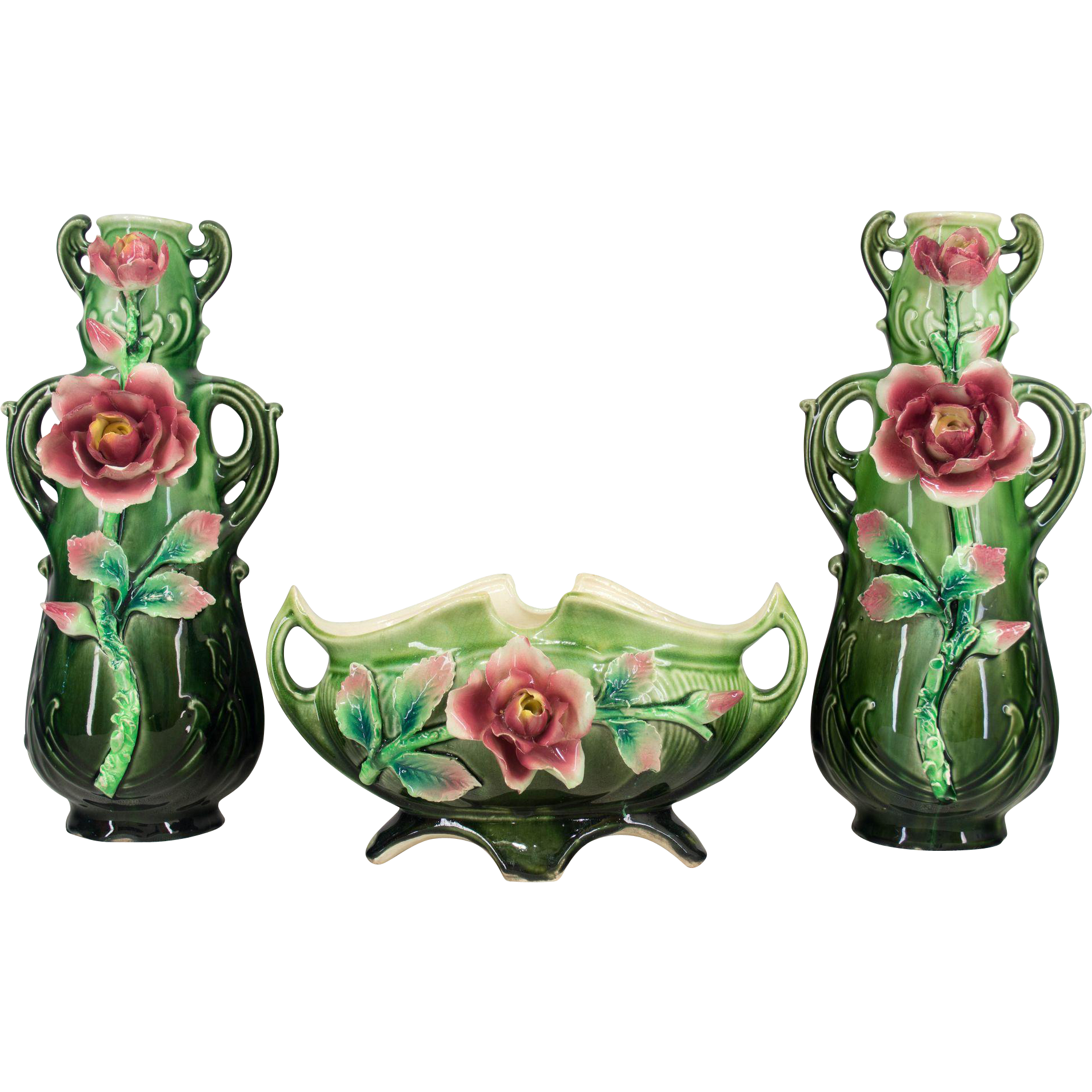 French Art Deco Majolica Set