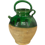 French Green Glazed Terra Cotta Jug