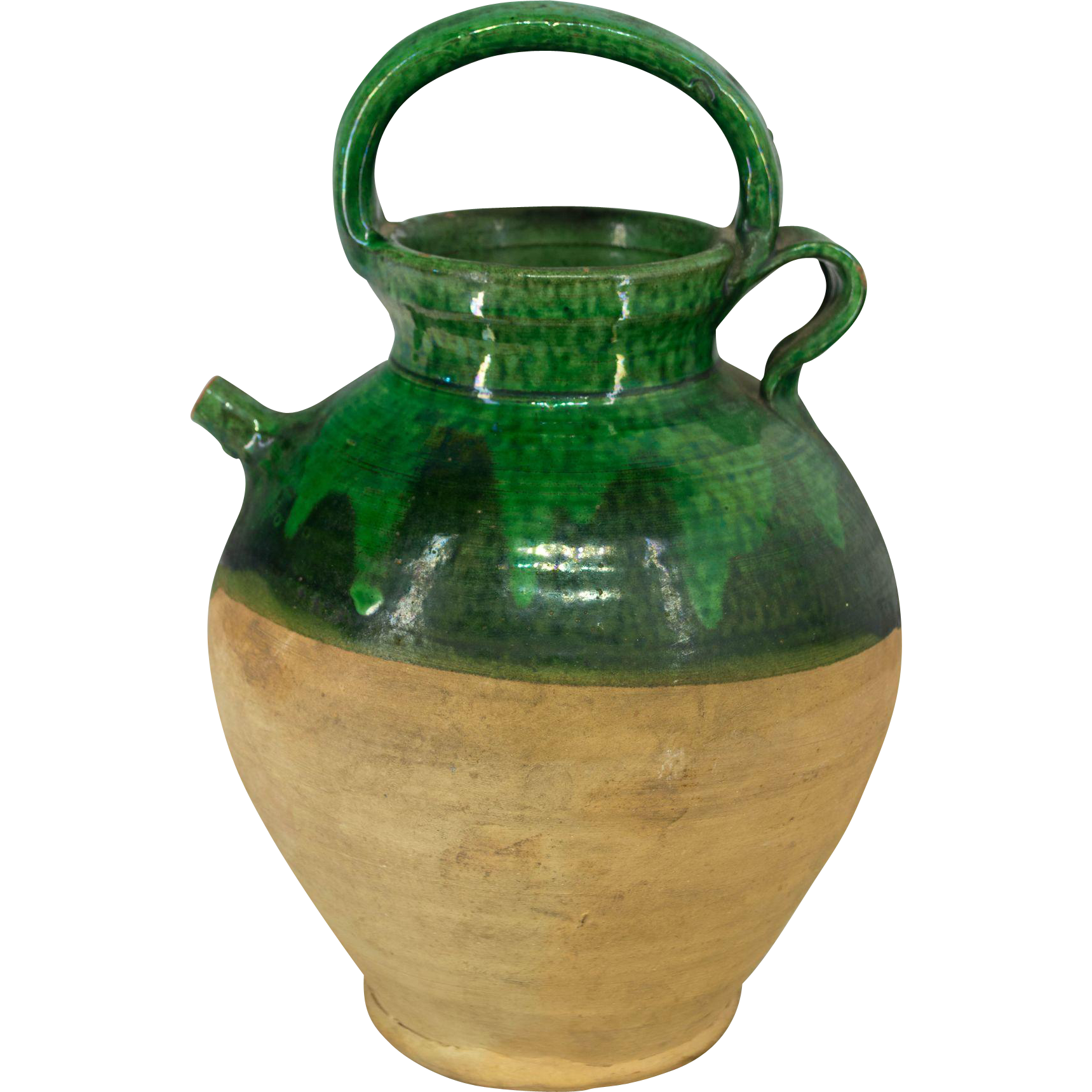 French Green Glazed Terracotta Jug