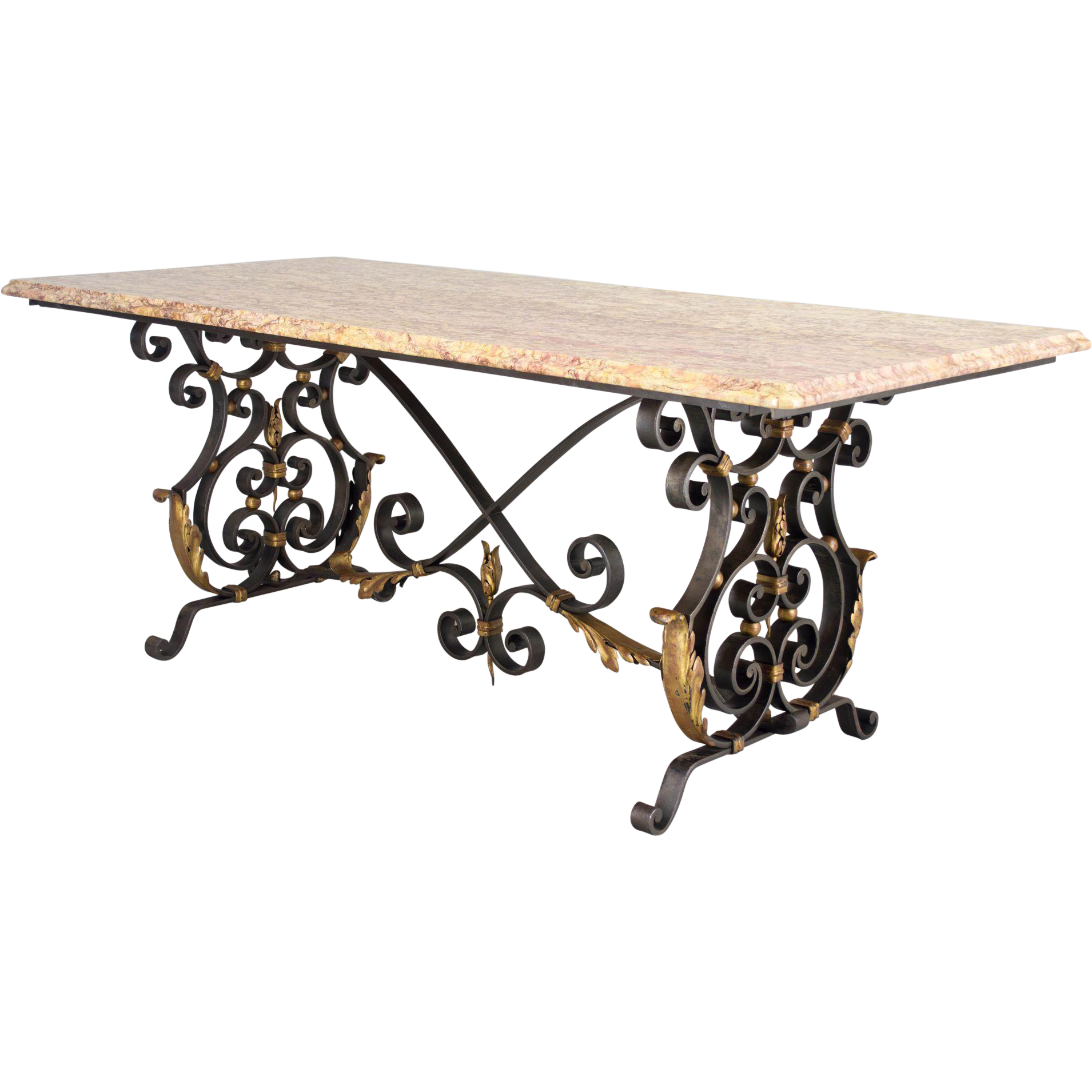 French wrought iron center table from ofleury on ruby lane for Table in french