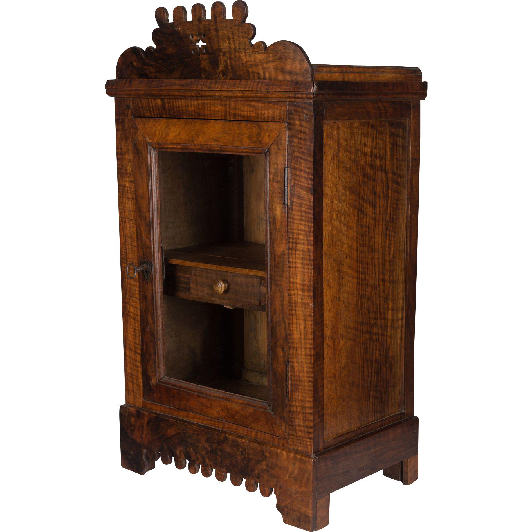 19th century french vitrine or hanging cabinet from for Sideboard vitrine