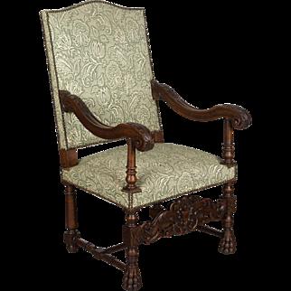 Louis XIII Style Walnut Fauteuil