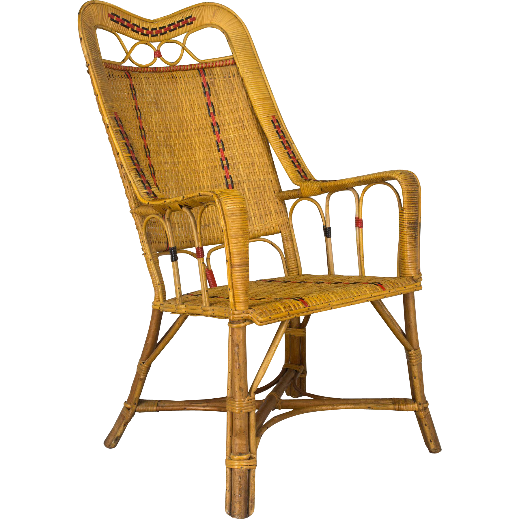French Wicker and Bamboo Armchair