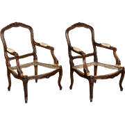 Pair of 19th c. Louis XV Walnut Fauteuils