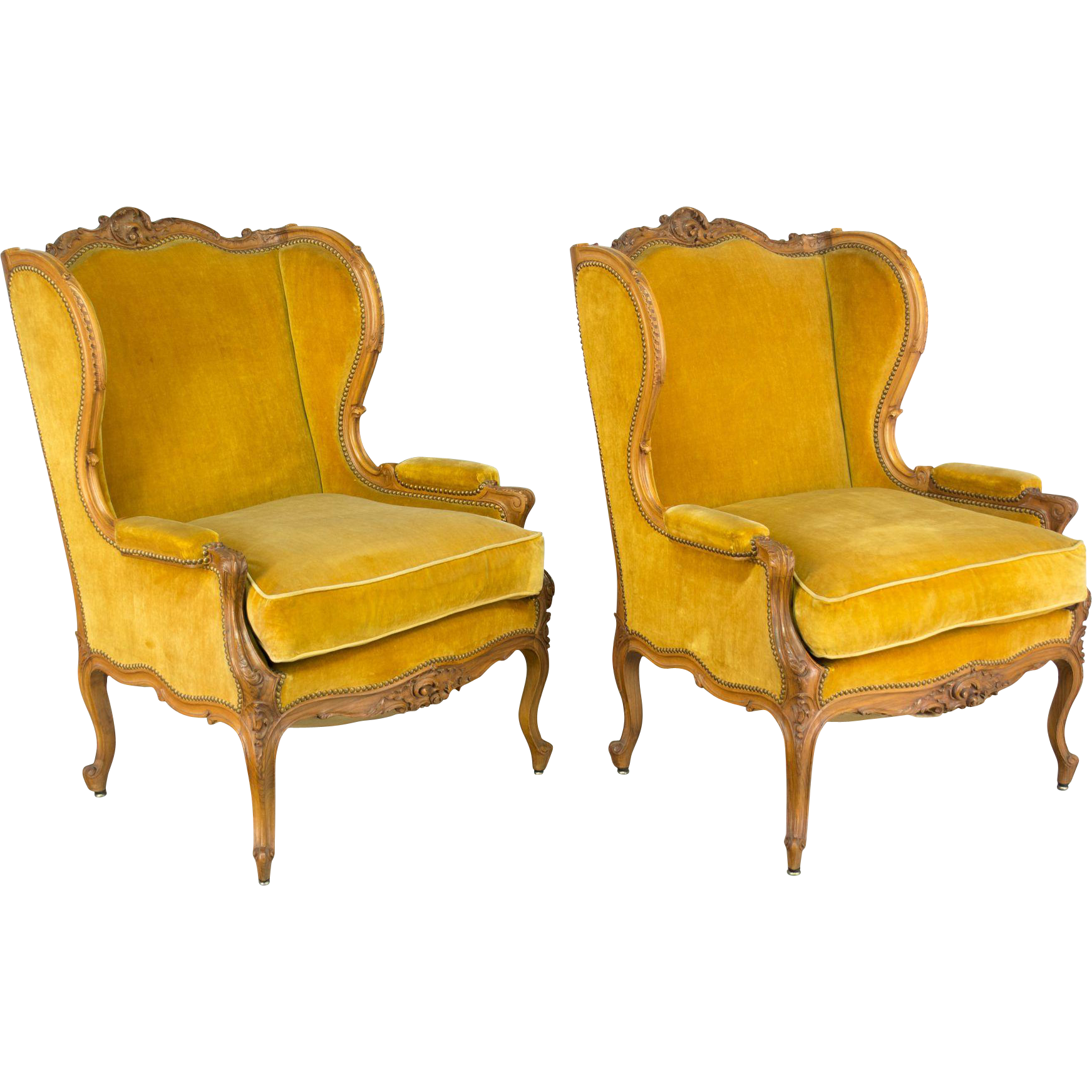 Pair of 19th Century Louis XV Style Bergeres