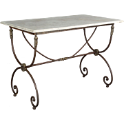 French Wrought Iron Marble Top Table