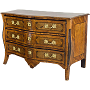 18th C. French Louis XV Serpentine Commode or Chest of Drawers