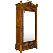 19th c. French Faux Bamboo Armoire