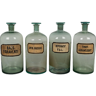 Set of 4 French Apothecary Bottles