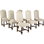 Set of 6 French Louis XIII Style Dining Chairs