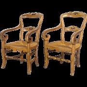Pair of Louis Philippe Rush Seat Armchairs