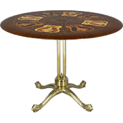 Italian Brass Marquetry Top Table