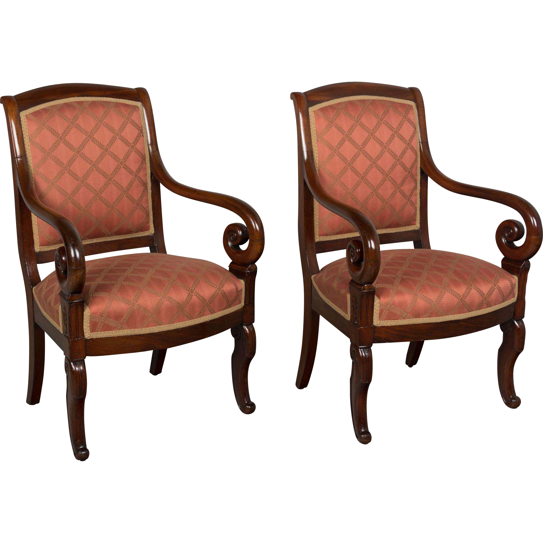 Pair of 19th c. French Restauration Armchairs
